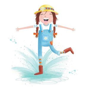 illustration of a girl dressed in overalls splashing in a puddle