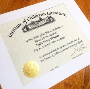 photo of certificate from Institute of Children's Literature to Tania Marie Guarino Fifth Prize Winner for Pre-K Animal Story