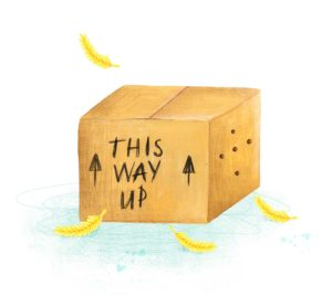 "illustration of a box with ""This Way Up"" written on it"
